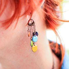 Handmade Colorful Dangle Earrings Boho Copper Enamel Olive Mustard Purple Robins Egg Orange via Etsy