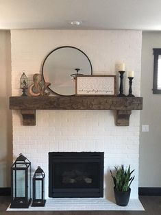 """Fireplace Mantel Custom Chunky Long Rustic 8 by 8 """" Hand Hewn Solid Pine Ant. - Fireplace Mantel Custom Chunky Long Rustic 8 by 8 """" Hand Hewn Solid Pine Antique Look – - Brick Fireplace Makeover, Fireplace Design, Custom Fireplace, Fireplace Ideas, Brick Fireplace Decor, Rustic Mantle Decor, Rustic Fireplace Mantels, White Painted Fireplace, Mirror Over Fireplace"""