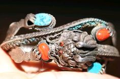Vintage Turquoise Coral Tibetian Silver Dragon Bracelet by SunnydreamsBoutique on Etsy https://www.etsy.com/listing/479856466/vintage-turquoise-coral-tibetian-silver
