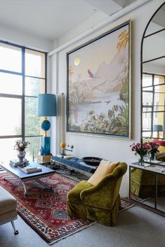 This Novelist's Eclectic London Home Is One of a Kind. Need ideas for eclectic or bohemian decor? Try Decorating like Damian, mixing vintage and modern elements around the home. Check out his colorful living room, bedroom, kitchen, and more. Home Living Room, Living Room Designs, Living Room Decor, Colourful Living Room, Bohemian Interior, Bohemian Decor, Boho, Floor To Ceiling Windows, Luxury Homes
