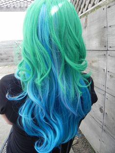 Nature's Kiss / Green Blue Pink / Long Curly Wavy by ExandOh