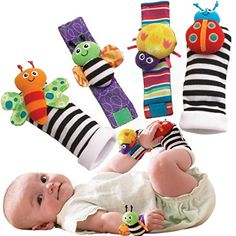 educational toys Happy safari and Just one year wrist or foot rattle for baby