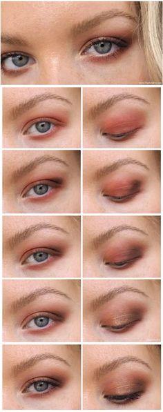 Warm fall inspired eye makeup for deep set eyes. #eyetutorial #makeupdiagram #deepseteyesmakeup #blueeyesmakeup #fallmakeupinspo #beautyblog