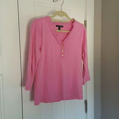 Lauren by Ralph Lauren 3/4 sleeve top. Bubblegum pink. Ruffled V- neck. 3 golden tone buttons in the front.perfect condition. Lauren by Ralph Lauren Tops Blouses