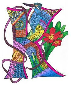 Kinky King Art Print by Jeanine Noegel. All prints are professionally printed, packaged, and shipped within 3 - 4 business days. Choose from multiple sizes and hundreds of frame and mat options. Flower Alphabet, Alphabet Art, Alphabet Fonts, Spirit Art, Sketchbook Assignments, Painting Wooden Letters, Illumination Art, Tangle Art, King Art