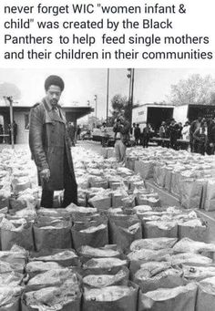 """tranqualizer: """" [photo: a black and white image of Black Panther Party leader Bobby Seale looking over bags of food to be donated to the local Black community] thanoblesavage: """" toartc: """". Black History Month, Black History Facts, Black Power, Quito, Sierra Leone, Bobby Seale, Cultura General, Black Panther Party, By Any Means Necessary"""