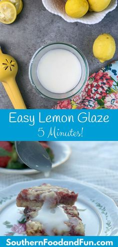 Lemon glaze recipe that's easy and is the perfect lemon glaze icing for cakes or cookies! Just powdered sugar and lemon juice with a few secret touches. Lemon Drizzle Icing, Lemon Icing Recipe, Glazed Icing Recipe, Donut Glaze Recipes, Lemon Glaze Icing, Lemon Frosting, Frosting Recipes, Lemon Glaze For Cake, Easy Glaze Recipe