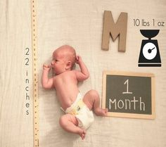 Documenting Baby's First Year with month, length, and weight.