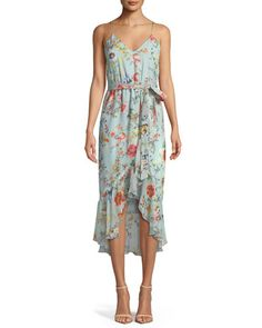 TWT26 Alice + Olivia Mable Mock-Wrap Floral-Print Silk Chiffon Dress