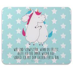 Mauspad Druck Einhörner Umarmen aus Naturkautschuk black - Das Original von Mr. & Mrs. Panda. Ein wunderschönes Mouse Pad der Marke Mr. & Mrs. Panda. Alle Motive werden liebevoll gestaltet und in un (Diy Geschenke Schwester)