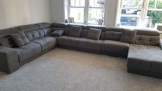 Habitat corner sofa with chaise lounge. Sofa with Duetto system: Chaise deploys as a single side bed or as an additional seating area. Armrest can be deployed as an extra seating space. Seats with storage and adjustable headrests. Delivered to our client in Essex. Corner Sofa Chaise, Lounge Sofa, Couch, Modern Sofa, Modern Bedroom, Sofa Bed Mattress Cover, Side Bed, Leather Bed, Extra Seating