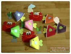 종이컵을 반으로 접어 물고기를 만들었어요.. 지느러미, 꼬리, 눈알을 붙여주면 물고기 완성!! 낚시줄을 달... Easy Crafts For Kids, Summer Crafts, Art For Kids, Diy And Crafts, Arts And Crafts, Kindergarten Drawing, Paper Cup Crafts, Felt Quiet Books, Art N Craft