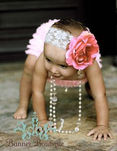 The Vienna Collection Salmon Hot Pink Rose on white or pink wide lace headband ALL sizes available Baby Infant Toddler Tween. $15.95, via Etsy.