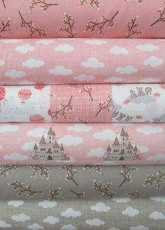 Kate and Birdie Paper Co., Storybook, BRUSHED, Peach in FAT QUARTERS 6 Total