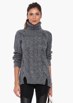 Ryan Turtleneck Sweater in Charcoal | Necessary Clothing