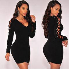 Scoop Solid Long Sleeve Bodycon Short Club Dress
