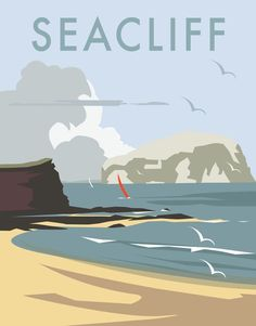 size: Giclee Print: Seacliff - Dave Thompson Contemporary Travel Print by Dave Thompson : This exceptional art print was made using a sophisticated giclée printing process, which deliver pure, rich color and remarkable detail. Posters Uk, Railway Posters, Cool Posters, Modern Posters, Portsmouth, Tourism Poster, Cities, Poster Series, Travel Illustration