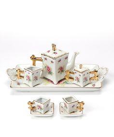 Loving this Pink Rose Fine China Doll Tea Set on #zulily! #zulilyfinds