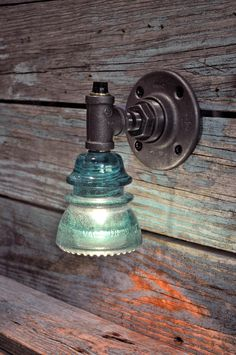 Glass Insulator Wall Sconce Light with BuiltIn by luceantica, $67.99