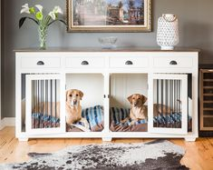 Double dog crate furniture diy plans 20 new ideas Double Dog Crate, Large Dog Crate, Large Dogs, Small Dogs, Double Dog House, Toddler Dog Costume, Dog Crate Furniture, Furniture Stores, Furniture Dog Kennel