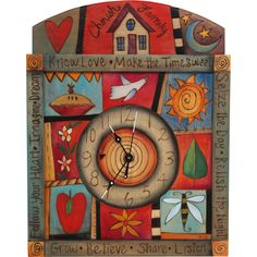 "Sticks creates this artistic one-of-a-kind wall clock constructed of hard wood. Hand drawn whimsical designs are burnt in, and then painted. Handmade in the USA * Size: 12""W. x 12-16""H. * Signed, Dated Anything you can imagine, Sticks can design for your space. Customize: THEMES - COLORS - WORDS. For more information please send your inquiries to: bacon@sweetheartgallery.com Shipping: approximately three to six weeks. Pieces we have in stock ship immediately. FREE SHIPPING ON ORDER OF $100…"