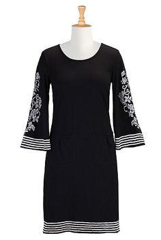 Ottoman cotton knit shift dress