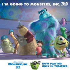 Repin if you're seeing Monsters, Inc. 3D - Now playing only in theatres!