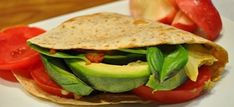 Tomato, Basil and Avocado Tortilla Sandwich. http://drinksfeed.com/tomato-basil-and-avocado-tortilla-sandwich/ #foodporn