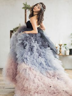 Utterly blown away by this gorgeous gown from B. Duo featuring dreamy layers of unique colors! Gold Dress, Tulle Dress, Paris Outfits, High Fashion Dresses, Indian Party Wear, Fantasy Dress, Embroidery Fashion, Mode Inspiration, Formal Gowns