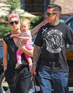 """""""I am still breastfeeding. Carey was joking that I will probably still be breastfeeding her on the way to her prom. I'm totally obsessed. I love her."""" - Pink oh and p.s- Carey Hart= SOOOOO HOT! Pop Punk, Celebrity Couples, Celebrity News, Celebrity Style, Corey Hart, Willow And Sage, Alecia Moore, Hip Hop, Star Wars"""