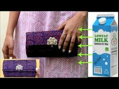 The video is about How to recycle milk carton boxes to make an elegant clutch/purse bag.This is simply a great idea to upcycle or work with waste carton boxes. For making clutch/purse bag from milk carton box you Diy Clutch, Diy Purse, Clutch Purse, Clutch Tutorial, Diy Tutorial, Milk Carton Crafts, Types Of Purses, Milk Box, Diy Handbag