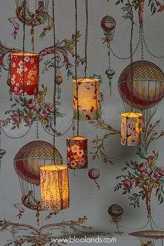 Sweet, inexpensive DIY lanterns against a beautiful wallpaper background.