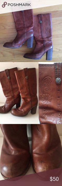 """Aldo Leather Boots. Preowned with flaws from use but still totally cool and wearable. Calf circumference: about 16"""".  Heel: 3 1/2"""" Aldo Shoes Heeled Boots"""