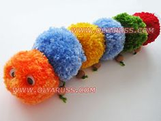 How to make a caterpillar or snake of pompoms