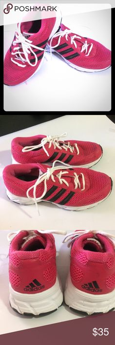 Adidas Tennis Shoes Adidas pink and black tennis shoes decent condition see pictures. Adidas Shoes Athletic Shoes