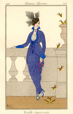 1914 French Fashion Illustration by Armand Vallée Art Deco Illustration, Fashion Illustration Vintage, Fashion Illustrations, Belle Epoque, Vintage Artwork, Vintage Posters, Art Nouveau, Art Deco Fashion, 1914 Fashion