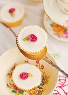 Fairy Cakes with Little Roses on Top.