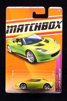 LOTUS EVORA 08 * GREEN * Sports Cars Series (#8 of 13) MATCHBOX 2011 Basic Die-Cast Vehicle (#8 of 100) by Mattel. $4.17. From Mattel. LOTUS EVORA 08 * GREEN * Sports Cars Series (#8 of 13) MATCHBOX 2011 Basic Die-Cast Vehicle (#8 of 100). Vehicle measures approximately 3 inches long.. Ages 3 and up.. Chasing through the suburbs of London in hot pursuit of the double agent who has stolen top-secret documents, your Lotus Evora can accelerate from 0-60 mph in less than 5 sec...