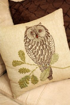 Love this embroidered owl pillow