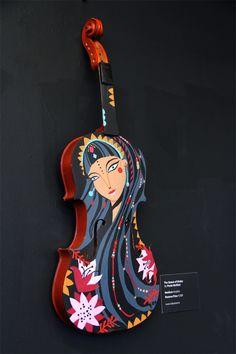 Queen of Sheeba - Painted Violin by Paula McGloin, via Behance