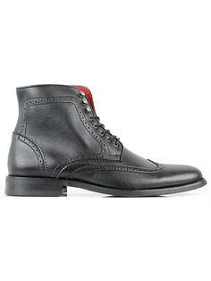 Vegan mens brogue boots in black by Wills London