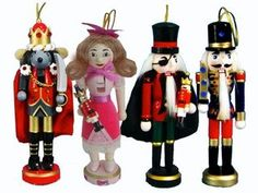 6 inch Nutcracker Ballet Ornaments - Set of 4 Wooden Characters