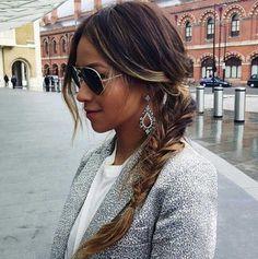 warkocze na bok długie włosy