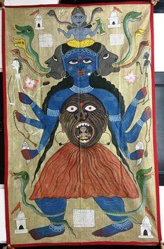 Tantra Tantric Pichwai Painting Kali Shiva Handmade Vintage India Antique #22504 #Vintage