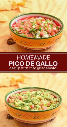 Homemade Pico de Gallo with fresh flavors from tomatoes, onions, jalapenos, and lime juice. This salsa fresca is amazing as a dip as well as condiment for your favorite food. Easily turn it into guacamole with a few avocados! No Cook Appetizers, Appetizer Dishes, Food Dishes, Appetizer Recipes, Delicious Appetizers, Avacado Appetizers, Prociutto Appetizers, Mexican Appetizers, Halloween Appetizers