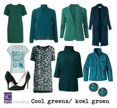 """""""Cool greens/ koele groentinten."""" By Margriet Roorda-Faber/ Style Consulting."""