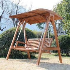 IN STOCK: best prices on Outsunny 3 Seater Larch Wooden Garden Swing Chair Seat Hammock Bench Lounger - choose between 34 Garden swing seat Backyard Swings, Pergola Swing, Metal Pergola, Pergola With Roof, Wooden Pergola, Pergola Shade, Pergola Ideas, Corner Pergola, Pergola Plans
