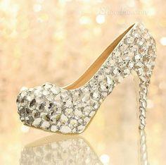 Charming Crystal Closed Toe Stiletto Heel Wedding Shoes