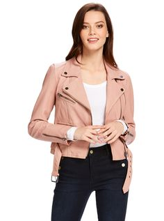 Blush pink biker jacket | Misha Belted Biker from Just Jeans