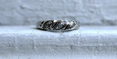 Vintage 14K White Gold Pave Diamond Wedding Band by GoldAdore